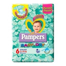 Pampers Baby Dry Extralarge - Taglia 6 (10-30kg) 15 Pezzi